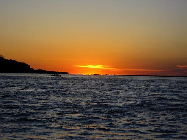 Río Paraná, Argentina, Afterglow, Sunset