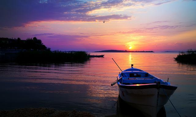 Boat, Water, Sunset, Lake, Pond, River, Reflection