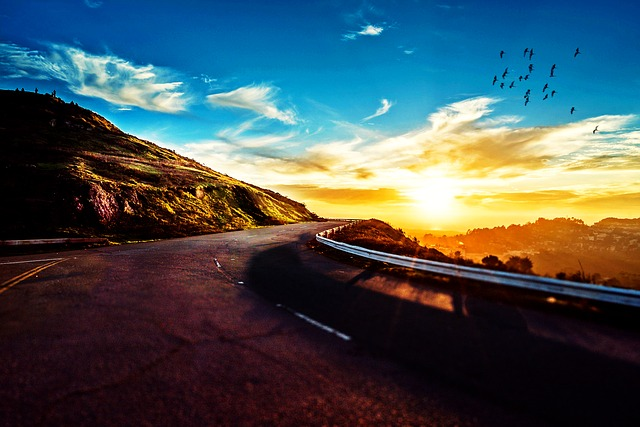 Road, Mountain, Sunset, Sky, Idyllic