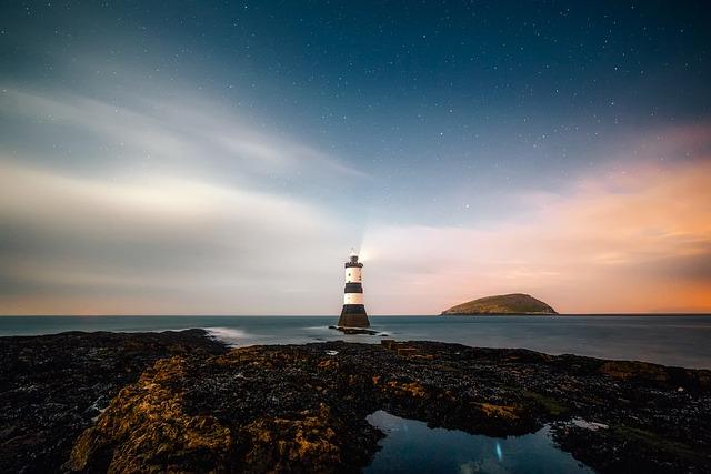 Lighthouse, Remote, Sky, Sunset, Rocks, Rocky, Sea