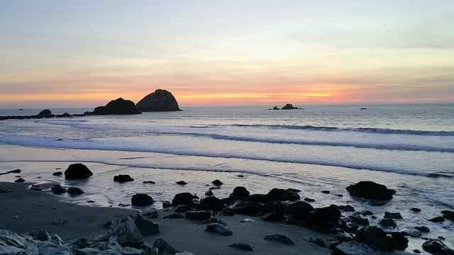 Beach, Rocky, Low Tide, Sunset
