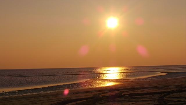 Sunset, Water, Beach, Römö
