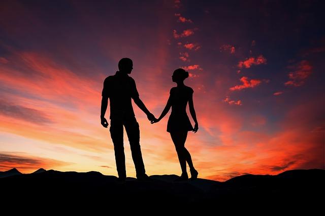 Sunset, Silhouette, People, Romance