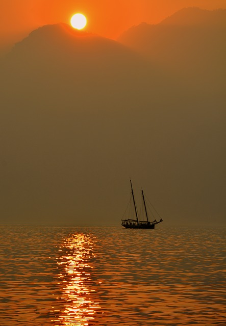 Sailing Ship, Lake, Sunset, Sun, Mooring, Reflection