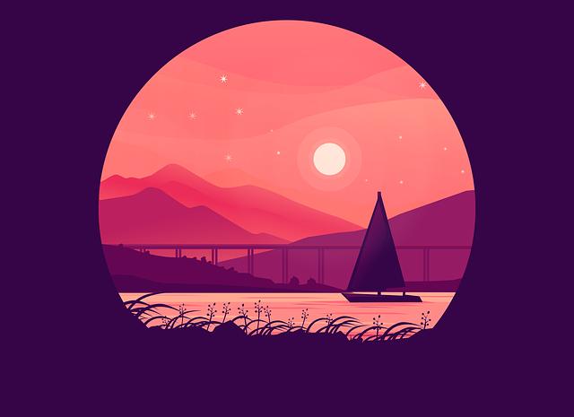 Mountain, Boat, Sunset, Sea, Moon, Stars, Nature, Ship