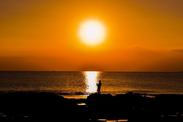Sunset, Sun, Dusk, Sea, Fisherman, Silhouetted