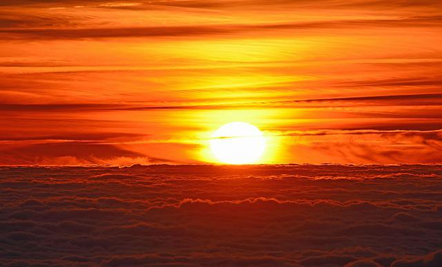 Sunset, Sea of clouds, Sunlight, France, Clouds