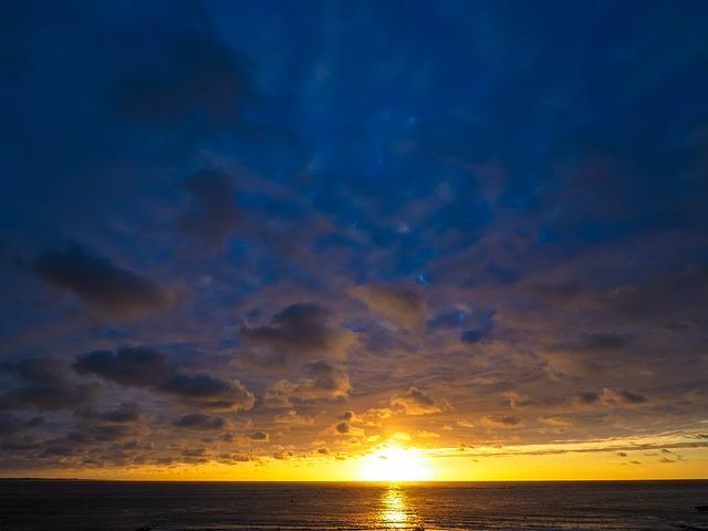 Sunset, Sea, Abendstimmung, Setting Sun, Clouds, Beach