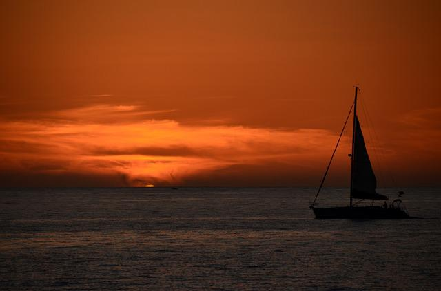 Sunset, Sea, Ocean, Dusk, Ship, Sail