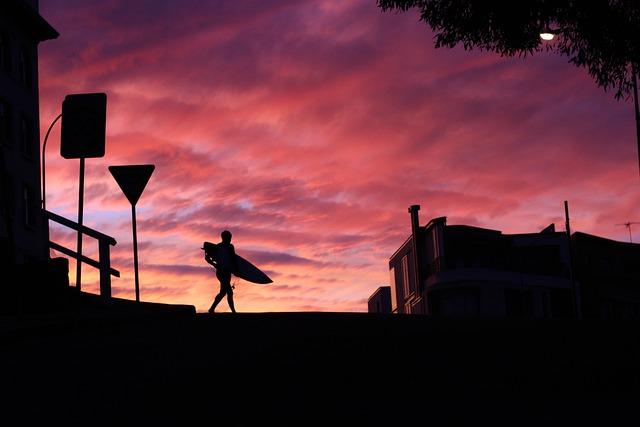 Clouds, Man, Person, Silhouette, Sunrise, Sunset