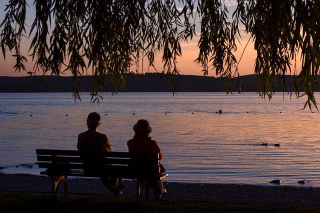 Sunset, Lake Constance, Unteruhldingen, Lake, Bank, Sit