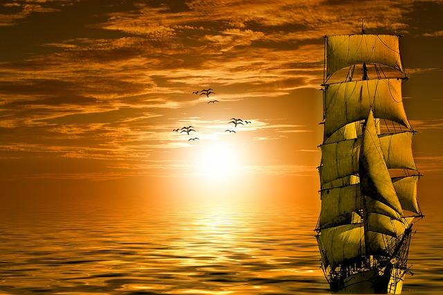 Sun, Ship, Gulls, Lake, Boat, Sky, Clouds, Sunset