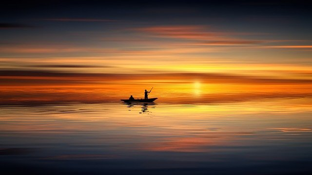 Sunset, Ocean, Boat, Human, Sea, Water, Sky, Nature