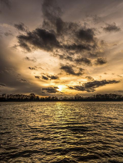 Sunset, Waters, Clouds, Sea, Sky, Nature, Reflection