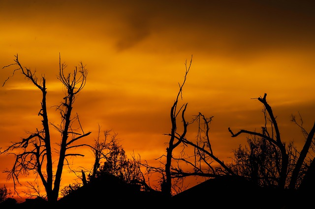 Sunset, Oklahoma, Tornado Damage, Sky, Clouds