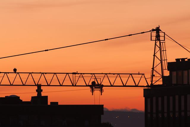 Industry, Sky, Sunset, Crane, Steel, Equipment