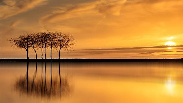 Sunset, Dawn, Sun, Dusk, Sky, Waters, Nature, Evening