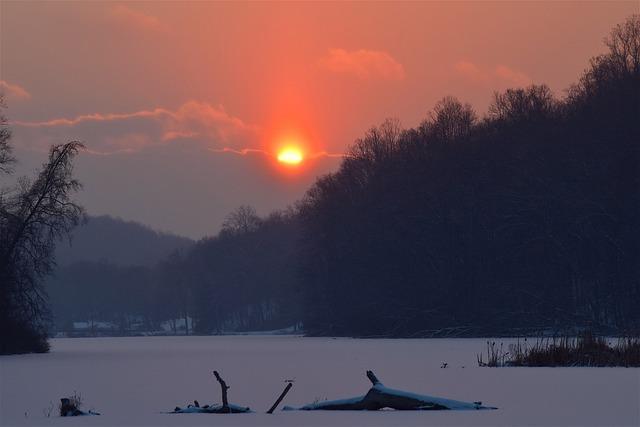 Winter, Sunset, Sun, Snow, Nature, Dusk, Twilight