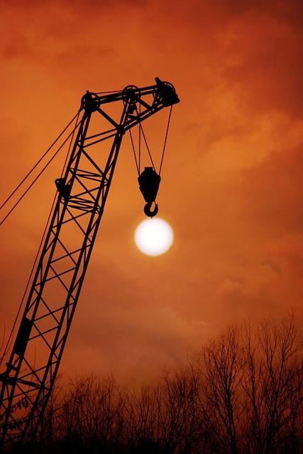 Sunset, Crane, Sun, Hang, Sky, Red