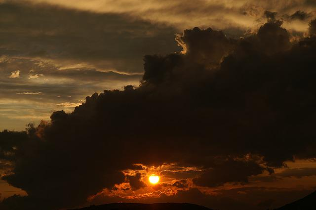 Sun, Sunset, Weather, Black Cloud