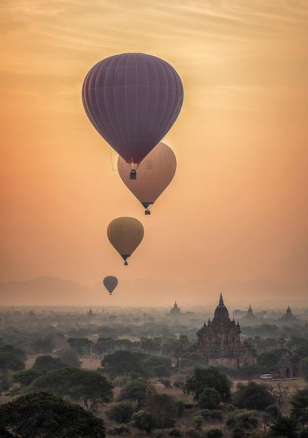 Hot Air Balloons, Bagan, Sunset, Sunrise, Fog, Temples