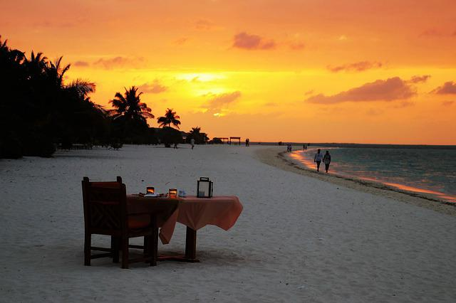 Sunset, Beach, Table, Characters, Palm Trees, Maldives