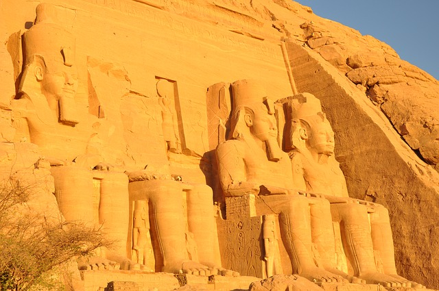 Egypt, Abu Simbel, Temple, Nile, Sun, Pierre, Sunset