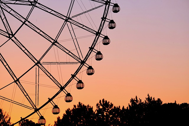 Ferris Wheel, Park, Sunset, Twilight, Silhouette, Trees