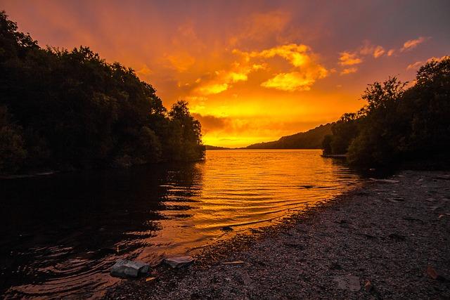 Sunset, Lake, Twilight Snowdonia