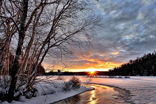 Winter Landscape, Sunset, Twilight, Winter, Snow, Cold