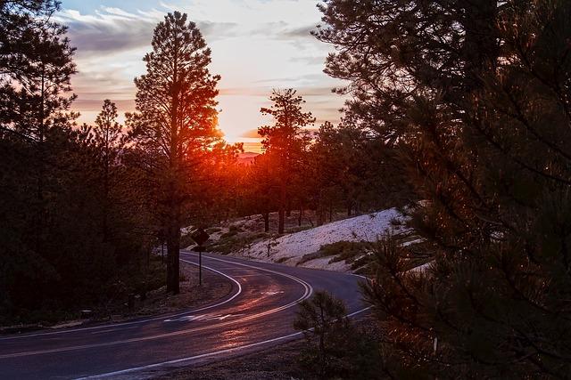 Bryce Canyon, Utah, Mountains, Sunset, Landscape, Road