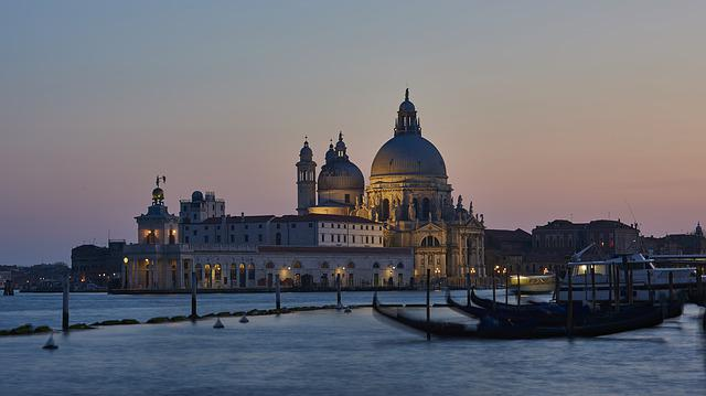 Venice, Sunset, Gondola, Water, Italy, Architecture