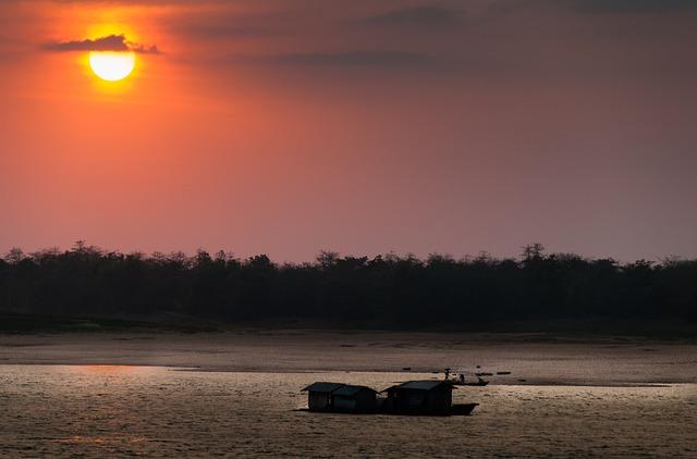 Vietnam, Mekong River, River, Boot, Sunset