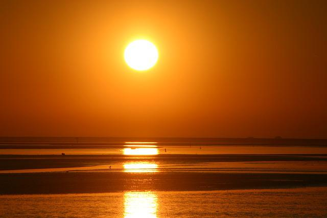 Sunset, Ameland, Orange Sky, Views, Island, Sandy Beach