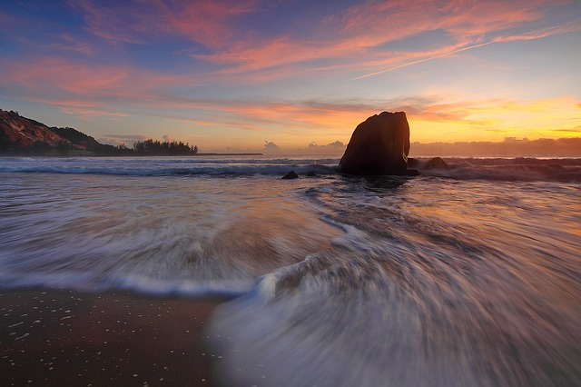 Sunset, Seascape, Water Motion