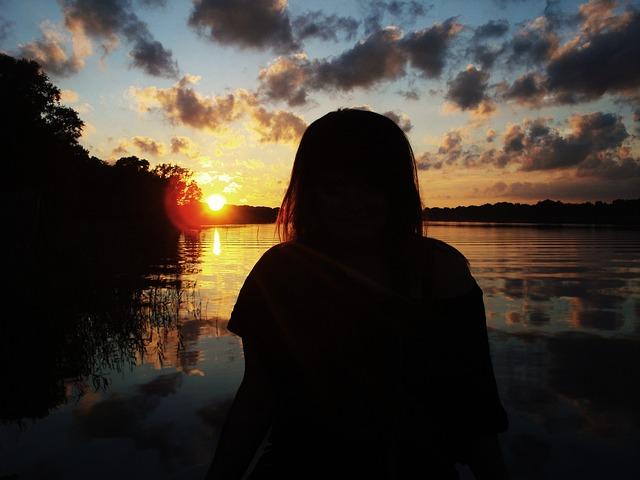 Human, Person, Girl, Sunset, Water, Brandenburg