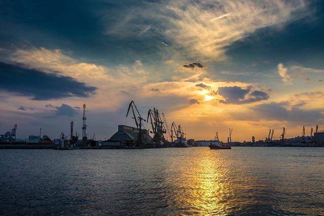 Port, Sunset, Sea, Water, Travel, Harbor, Sky, Ship