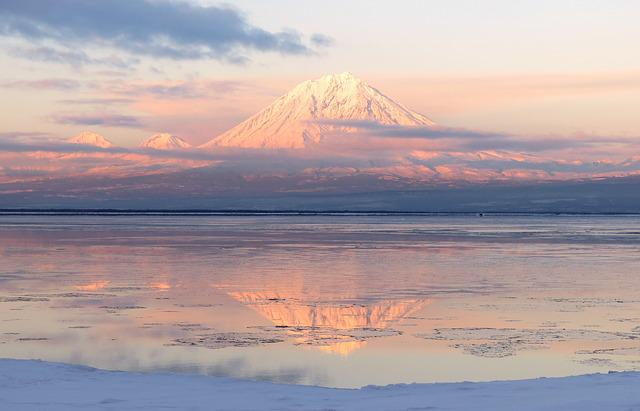 Volcanoes, Mountains, Winter, Snow, Sunset, Water, Bay