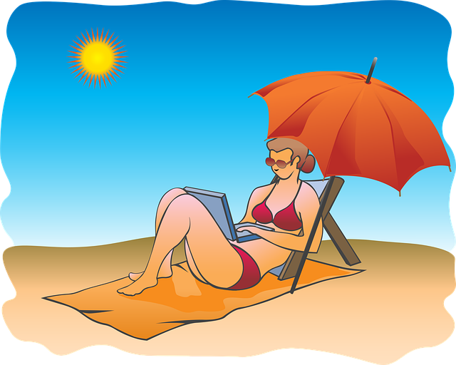 Woman, Sunbathing, Umbrella, Sand, Beach, Sunshade, Sun