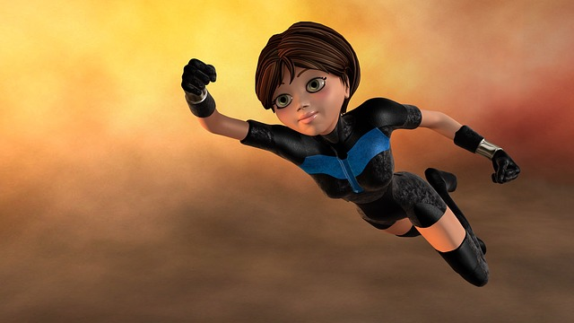 Super Woman, Flying, 3d Figure, Female, Young