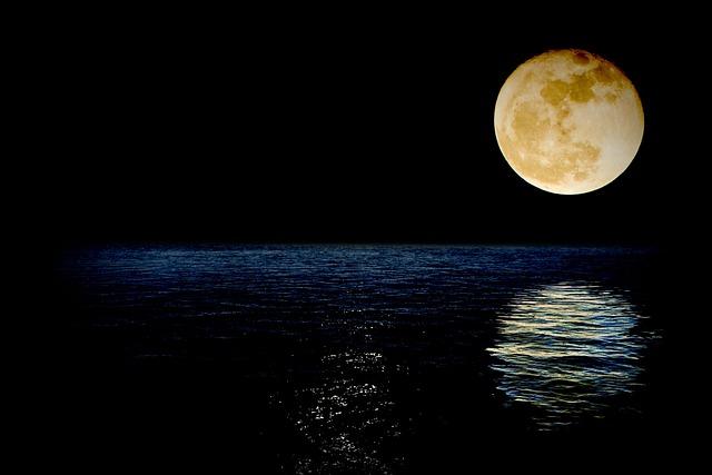 Luna, Super, Superluna, Sea, Reflection, Water, Night