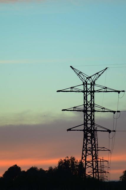 Support, Line, Transmission, Evening, Sunset