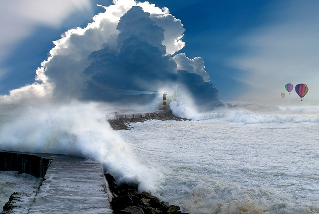 Quay Wall, Surf, Ocean, Wave, Clouds, Lighthouse