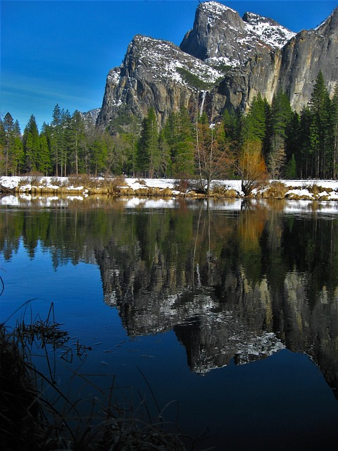 Yosemite, River, Surface Of The River, Reflection