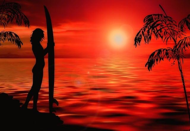 Sunset, Surfer, Surreal, Beach, Surf, Ocean, Sea