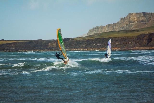 Surfing, Wind, Kimmeridge Bay, Dorset, England