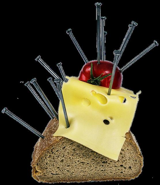 Bread, Cheese, Tomato, Breakfast, Surreal, Art