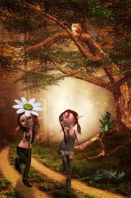 Boy, Girl, Children, Fantasy, Surreal, Dragons, Forest