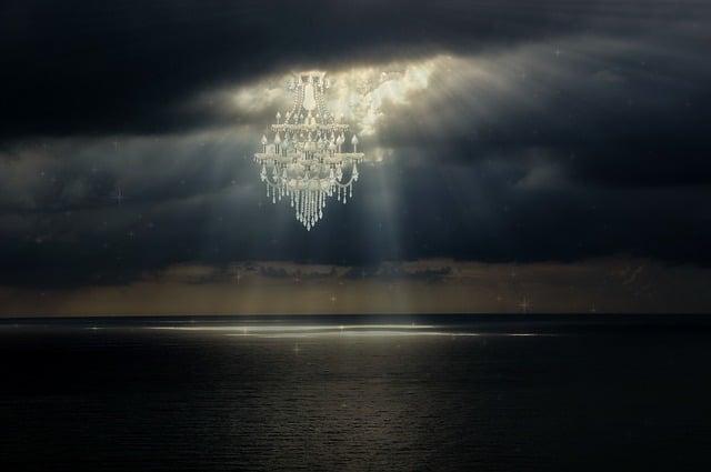 Chandelier, Light, Light Beam, Sea, Surreal, Fantasy