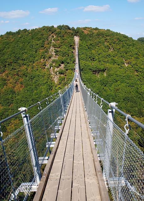 Bridge, Suspension Bridge, Cross, Steel Cables